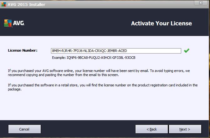 AVG Internet Security 2020 registration confirmation