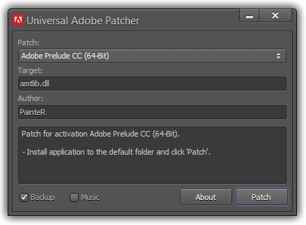 Activate all Adobe Products using Adobe Universal Patcher